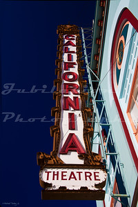 The California Theatre, Dunsmir, CA.  Opened in 1929 and currently closed.  Also, the Marquee has been taken off, only leaving the vertical sign as a reminder that this was a theatre.  This sign is identical to the California Theatre's vertical sign in San Jose, CA.