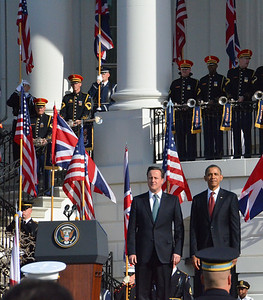 President Obama welcomes David Cameron, Prime Minister of the U.K., White House tweetup, March 2012