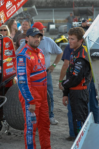 Tony Stewart and Kasey Kahne at the KK Foundation Sprint car race, Skagit Speedway, August 2007.