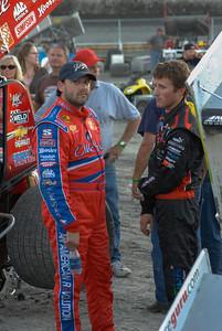Tony Stewart and Kasey Kahne at the KK Foundation Sprint car race, Skagit Speedway, August 2007.
