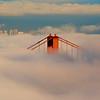 Towers on the Golden Gate Bridge peeking through the fog, San Francisco