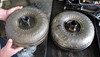 The torque converter on the left is from the Scion, the on eon the right is from the Toyota Highlander.