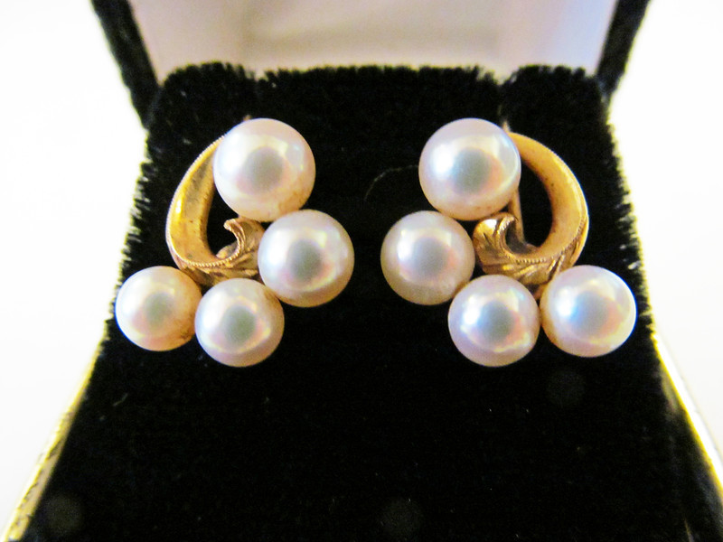 Vintage Mikimoto Pearl Earrings, Alohamemorabilia.com