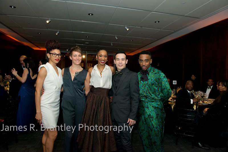 Ailey Company members Ghrai DeVore, Elisa Clark, Demetia Hopkins, Kanji Segawa, Renaldo Gardner.<br /> <br /> The Alvin Ailey American Dance Theatre opening night at the John F. Kennedy Center for the Performing Arts in Washington, DC includes a small pre-performance reception followed by a post-performance dinner, dancing, and dessert in the Center's Atrium on Tuesday, February 4, 2014.  (James R. Brantley)