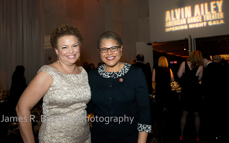 Co-Chair Debra Lee, Rep. Karen Bass (D-CA)<br /> <br /> The Alvin Ailey American Dance Theatre opening night at the John F. Kennedy Center for the Performing Arts in Washington, DC includes a small pre-performance reception followed by a post-performance dinner, dancing, and dessert in the Center's Atrium on Tuesday, February 4, 2014.  (James R. Brantley)