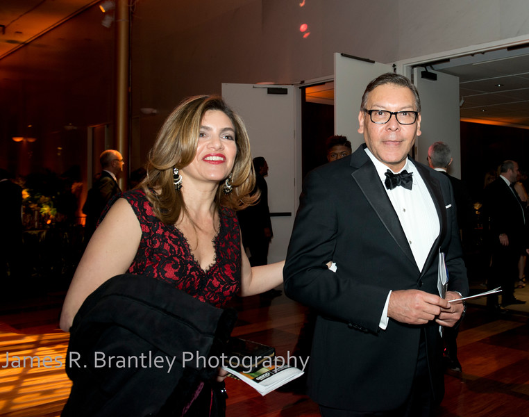 Maria Sanchez, TerraCom CEO and Chair of the National Hispanic Foundation Felix Sanchez.<br /> <br /> The Alvin Ailey American Dance Theatre opening night at the John F. Kennedy Center for the Performing Arts in Washington, DC includes a small pre-performance reception followed by a post-performance dinner, dancing, and dessert in the Center's Atrium on Tuesday, February 4, 2014.  (James R. Brantley)