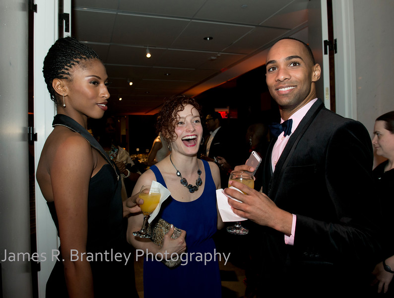 Jacqueline Green, Megan Jakel, Sean Carmon<br /> <br /> The Alvin Ailey American Dance Theatre opening night at the John F. Kennedy Center for the Performing Arts in Washington, DC includes a small pre-performance reception followed by a post-performance dinner, dancing, and dessert in the Center's Atrium on Tuesday, February 4, 2014.  (James R. Brantley)
