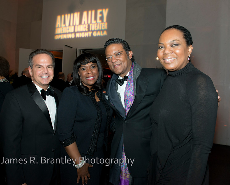 Rep. David Cicilline (D-RI), Rep. Terry Sewell (D-AL), Frank Ahriman, Dina Curtis.<br /> <br /> The Alvin Ailey American Dance Theatre opening night at the John F. Kennedy Center for the Performing Arts in Washington, DC includes a small pre-performance reception followed by a post-performance dinner, dancing, and dessert in the Center's Atrium on Tuesday, February 4, 2014.  (James R. Brantley)