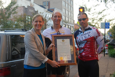 Dr. Holtzman (center) rode in honor of his father, whose battle with Alzheimer's disease ended a week before the ride. Robin Carnahan, Missouri Secretary of State, wrote this proclamation.