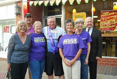 Some of the Alzheimer's Association Mid-Missouri Chapter Board and Staff members posed with Dr. David Oliver (center) who rode from Sedalia to Jefferson City, MO to support our cause!