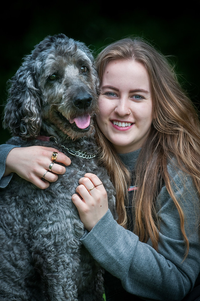 19 year old Charlotte Foley who now writes and plays songs as Charlote Rose, some of which relate to her experiences of demantia and being a carer with her pet Labradoodle Alfie. Alfie also played a role in the care of her grandparents. 5th July, 2016 - Picture Andy Brooks