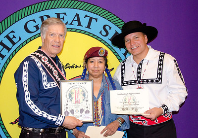 Sue Martinez presents a Certificate of Appreciation for Choctaw Vietnam veterans to Chief Gregory E. Pyle during a Choctaw Nation Cultural Meeting on April 4 in Amarillo.  Martinez is a support member of a Vietnam Veteran Warriors group who acknowledges and thanks Vietnam era veterans.