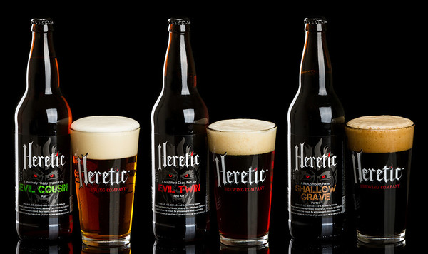 Product work for Heretic Brewing Company.  Used for banners and sales sheets.
