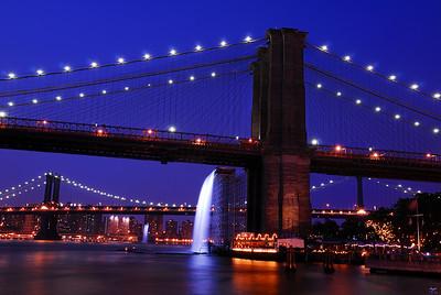 The Brooklyn Bridge as Art Gallery for Waterfalls