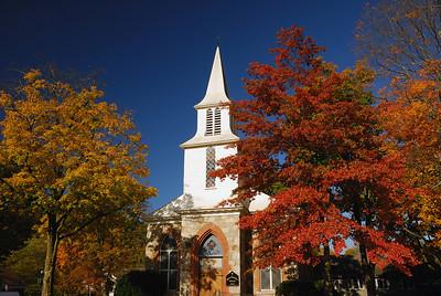 Connecticut Church in Fall