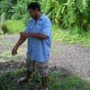 Man using DEET insect repellent