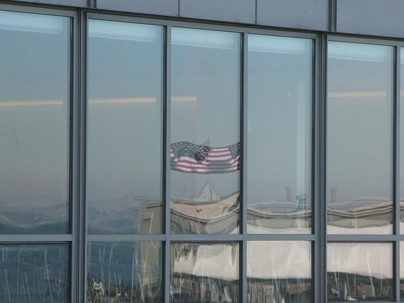 American flag at San Francisco ferry terminal