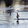 Boy chasing geese