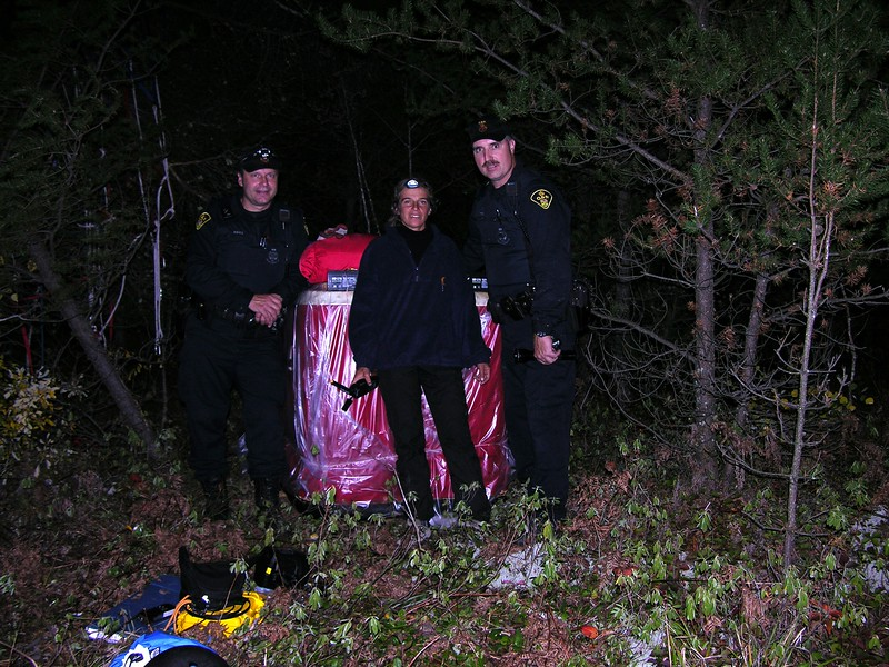Due to a call from the Albuquerque flight center with our GPS landing position, two Ontario Provincial Police came to rescue us!  We would have been happy to sleep in the basket, but the officers informed us they don't leave anyone in the bush who didn't plan to be there.