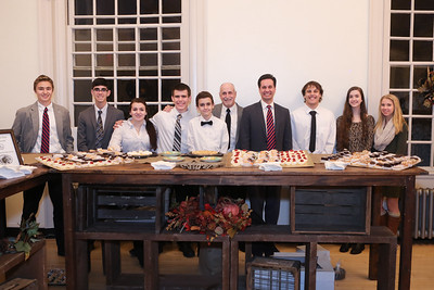 State Senator Vinnie deMacedo poses with Plymouth South High School Culinary Arts Dept Head Barry Levy and his students who provided a myriad of  their sweet baked creations at the Hometown Thanksgiving Opening Reception.  Wicked Local Photo/Denise Maccaferri