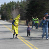 This little guy was awesome but had no clue as to who this weird guy was in a banana suit and why everyone was running