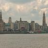 View of Antwerp from the Schelde (Scheldt) River,  50 miles to the North Sea.
