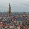 View of Antwerp, Belgium.  Da Kathedral of Our Lady in the center.Antwerp Cathedral in the center.