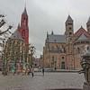 Square in Maastricht, Netherlands.  13th Century.  Saint John's Church (left) and Saint Servatius Basilica