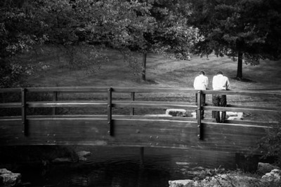 Dad and Jack on bridge bw (1 of 1)
