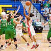 During the second quarter Anderson junior DaSha Boyd hauls in a rebound which she then took and drove to the basket and scored. The basket put Anderson up  23 to 9. Anderson High School girls compete against New Castle in the second round of Sectional #9 at Greenfield-Central High School Friday, February 8, 2013. Photo by Richard Sitler