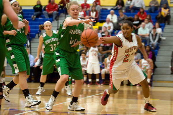 Anderson Senior Danequa Smith attempts to steal the ball during the fourth quarter. Anderson High School girls defeat New Castle 61 to 26 in the second round of Sectional #9 at Greenfield-Central High School Friday, February 8, 2013. Anderson advances to play Connorsville in the finals Saturday at 7:30 p.m. Photo by Richard Sitler