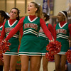 The cheerleaders were on hand to cheer the Lady Tribe to victory. Anderson High School girls defeat New Castle 61 to 26 in the second round of Sectional #9 at Greenfield-Central High School Friday, February 8, 2013. Anderson advances to play Connorsville in the finals Saturday at 7:30 p.m. Photo by Richard Sitler
