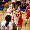 Anderson's DaSha Boyd passes the ball to her teammate Taylor Potts. Anderson fell to Connersville in the final of sectional #9 at Greenfield-Central Saturday, February 9, 2013. Photo by Richard Sitler