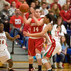 Hard-nosed defense: Anderson Junior Chelsea Bentley gets a shoulder in the face as she attempts to defend Connersville ball handler Morgan McCreery. Looking on is Anderson's Samia Carater. Anderson fell to Connersville in the final of sectional #9 at Greenfield-Central Saturday, February 9, 2013. Photo by Richard Sitler