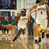 Anderson Senior Tayor Potts starts the fast break after stealing the ball. Anderson High School faces Greenfield-Central High School in the first round of girl's basketball sectional #9 at Greenfield-Central High School Monday, February 5, 2013. Photo by Richard Sitler