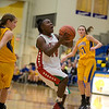 Samia Carter scores in the fourth quarter for Anderson. Anderson High School faces Greenfield-Central High School in the first round of girl's basketball sectional #9 at Greenfield-Central High School Monday, February 5, 2013. Photo by Richard Sitler