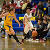 Anderson senior Darlen Thompson steals the ball from Greenfield-Central's Shelby Davis. Anderson High School faces Greenfield-Central High School in the first round of girl's basketball sectional #9 at Greenfield-Central High School Monday, February 5, 2013. Photo by Richard Sitler