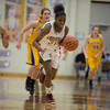 Anderson Sophomore Dabriona Williams leads a fast break. Anderson High School faces Greenfield-Central High School in the first round of girl's basketball sectional #9 at Greenfield-Central High School Monday, February 5, 2013. Photo by Richard Sitler