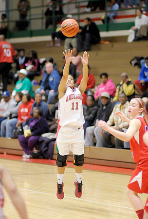 Anderson's Sharice Jones shoots  from three-point range as the Indians hosted the Jay County Patriots on Thursday.