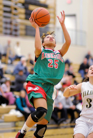 Anderson's Darien Thompson drives for a layup as the Indians faced the Mt. Vernon Marauders on Tuesday.