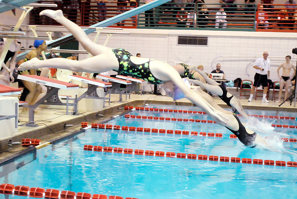 Don Knight / The Herald Bulletin<br /> Anderson's Kaitlin Phipps dives into the pool on the first leg of the 200 yard freestyle relay as the Indians hosted Pendleton Heights on Friday.