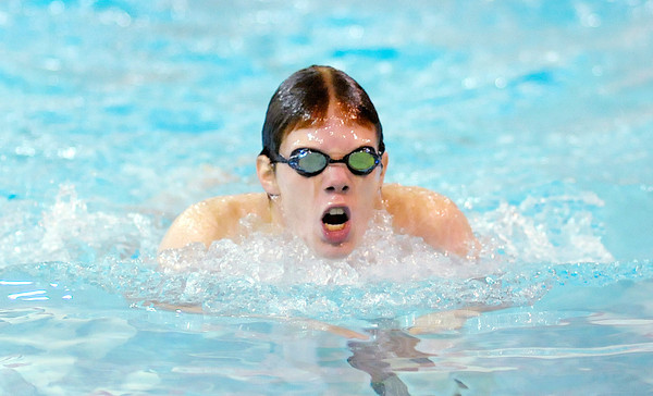 Don Knight / The Herald Bulletin<br /> Anderson's Cody Gray competes in the 100 yard breaststroke on Friday.