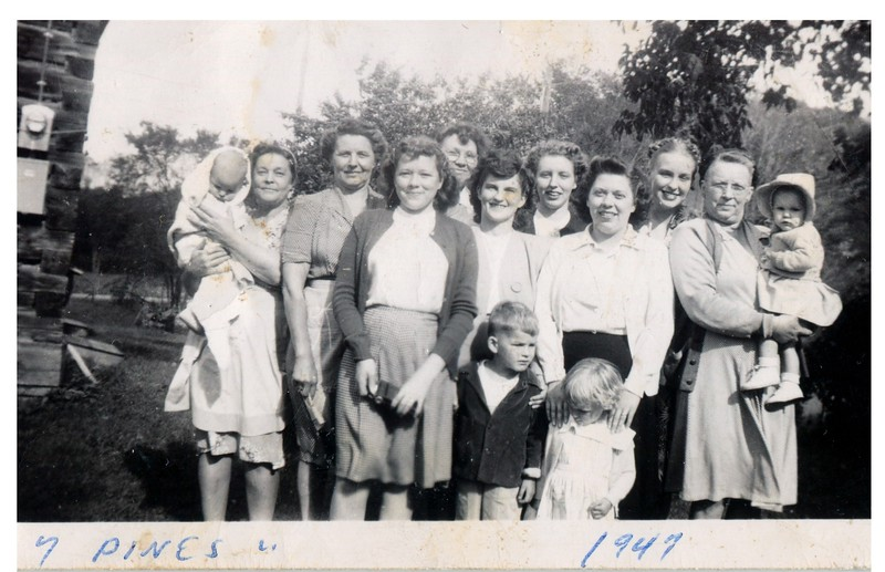 """7 Pines"" , ""1947"" :: (written on print).<br /> - Gary - Mabel - ?? - Marilyn - Rogna - Lois A. - Jim - ?? - Shar - Audrey - Lois B. - Alma - Laurie."