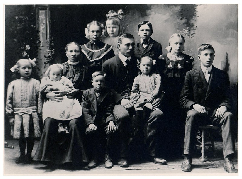"""Anderson Family -- Andrew and Anna -- Albin - Levi - Fred - Joshephine - Clara - Rogna - Alma - Selma - Mabel"" :: (writing on back of print).<br /> - Fred with parents and siblings.<br /> - - Jeanne's Father, Grandparents, Aunts and Uncles."