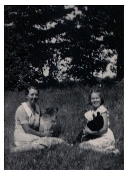 """""""Jeanne"""" :: (written on back of print).<br /> - I think Jeanne is with her aunt Sadie Fredine."""