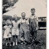Rita Hale, Jeanne Anderson, Spencer Anderson, Stan Anderson.<br /> <br /> The smaller girl is Rita Hale, a first cousin on the Fredine side.