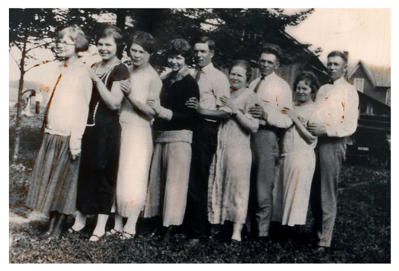 """""""The family of Andrew and Anna Anderson   ---   Mabel Margaretta - Selma Christina - Rogna Carolina - Alma Emelia - Fred Ingamen - Clara Bang - Levi Peter Martin - Josephine Amanda - Albin Kornelius"""" :: (writing on back).<br /> - Fred with siblings.<br /> - - Jeanne's Father, Aunts and Uncles."""