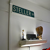 "A better view of the talking guy.  The street sign was ""borrowed"" .  The guys were only helping the city since it was spelled incorrectly.  The street name is spelled Stellar., not ""er"".  This has been in all the Steller boys dorm rooms."