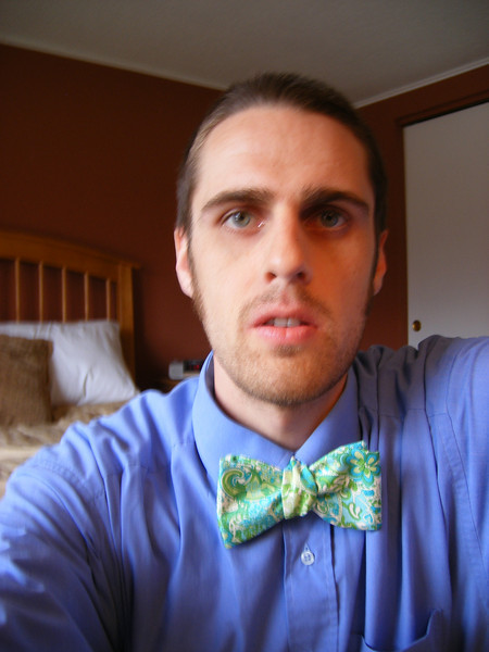 Andrew w/ bow tie.  this might have been the best one I tied all morning; it took me about an hour and a half to learn to tie it using youtube videos