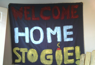Andrew's welcome home sign.....he has great friends!